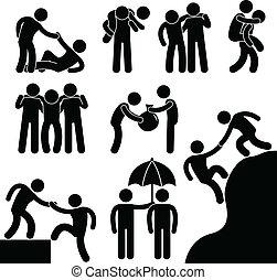 助力, 他, ビジネス, 友人, それぞれ