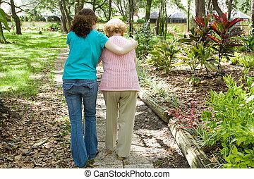 助力, 歩きなさい, 祖母