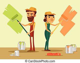 労働者, ブラシ, ユニフォーム