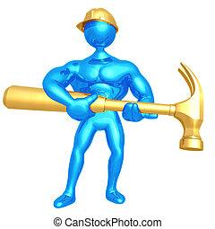 労働者, 巨人, 建設, ハンマー