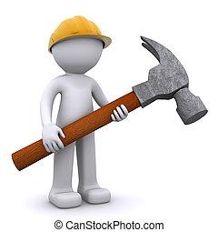 労働者, 建設, ハンマー, 3d