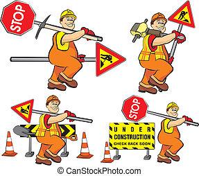 労働者, 建設, -, 道, 下に