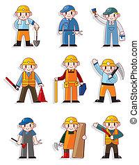 労働者, 漫画, アイコン