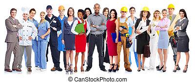 労働者, group., ビジネス 人々