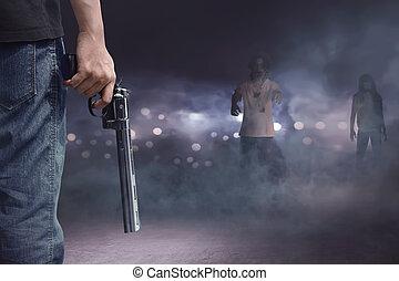 勇士, 保有物, ジーンズ, 銃, 見る, zombies, ズボン, 人