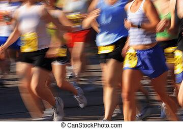 動き, カメラ, マラソン, (in, blur)