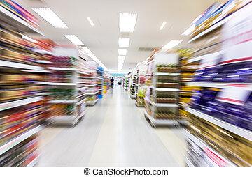 動き, 空, ぼやけ, 通路, スーパーマーケット