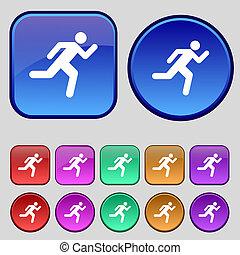 動くこと, ボタン, あなたの, 人, アイコン, セット, 印。, 型, 12, design.