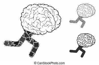 動くこと, 脳, tuberous, 部分, アイコン, モザイク
