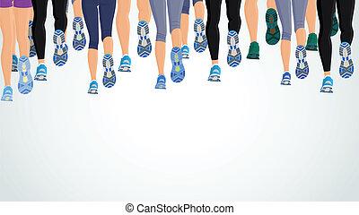 動くこと, 足, グループ, 人々