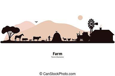 動物飼育, シルエット, 農業