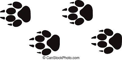 動物, ステップ, vector., 軌道に沿って進む, フィート, デザイン, 隔離された, 野生生物, 白, 跡, プリント, 概念