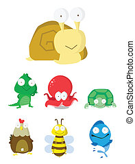 動物, スラグ, octopu, セット, ワニ