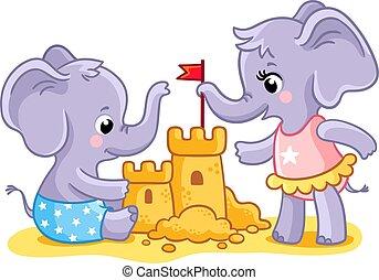 動物, 象, sand., castle., 建造しなさい, 浜, 遊び