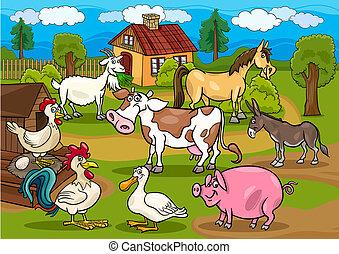 動物, 農場, 現場, イラスト, 田園, 漫画
