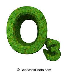 化学, オゾン, 草, フォーミュラ, 緑, 3d