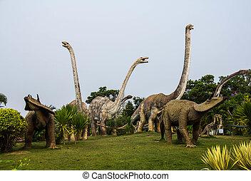 北東, 彫像, 公園, 公衆, 恐竜, thailand., 州, kalasin