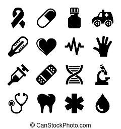 医学, ベクトル, 健康, set., アイコン