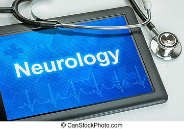 医学, 神経学, 捺印証書, タブレット, ディスプレイ