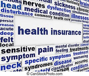 医療の健康, メッセージ, 背景, 保険