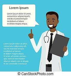 医者, アメリカ人, スピーチ, アフリカ, 泡, 漫画