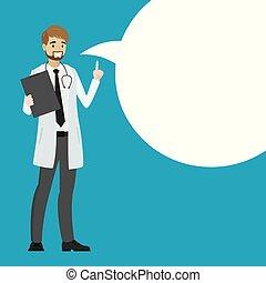 医者, スピーチ, 漫画, bubble.