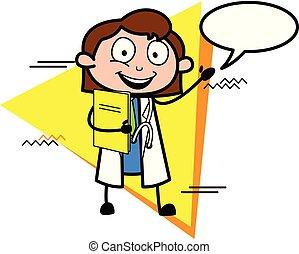 医者, ベクトル, スピーチ泡, 漫画, 幸せ