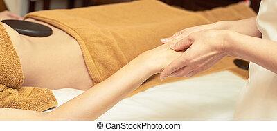 医者, リラックスしなさい, 石, 大広間, hands., 体, massage., 腕, masseur., 女の子, 岩, 暑い