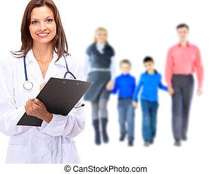 医者, 上に, 背景, 若い, 隔離された, 家族, 魅力的, 白
