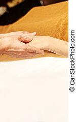 医者, massage., 体, hands., 熱い石, masseur., 女の子, リラックスしなさい, 岩, 大広間, 腕
