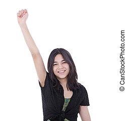 十代, 上げられた, 成功, 若い, 1(人・つ), 確信した, 女の子, 腕