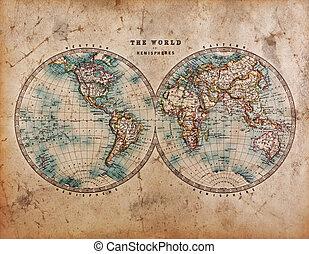 半球, 世界, 古い, 地図