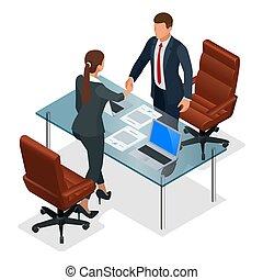 協力, concept., ビジネス, ベクトル, オフィス。, ∥あるいは∥, インタビュー, 対立, 建設的, businesspeople, 等大, イラスト, 後で, ハンドシェーキング, 生産的である, 交渉