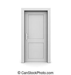 単一, ドア, 灰色, 閉じられた