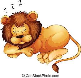単独で, かわいい, ライオン, 睡眠
