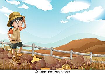 単独で, 歩くこと, 探検家, 女性, 若い