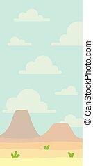 単純である, いくつか, 現場, nobody., style., 風景, design., 青, 空, 平ら, 自然, vertical., イラスト, grass., アートワーク, space., minimalistic, 空, 火山, ベクトル, 砂漠, 柔らかい, ∥あるいは∥, 山