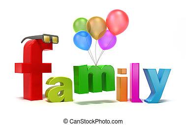単語, カラフルである, 家族, letters.