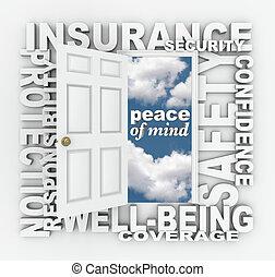 単語, コラージュ, 保護, ドア, セキュリティー, 保険, 3d
