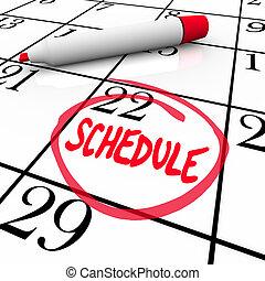 単語, スケジュール, 一周される, 任命 カレンダー, メモ
