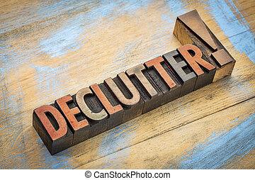 単語, タイプ, 木, declutter
