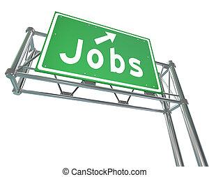 単語, 指すこと, キャリア, 印, 高速道路, 緑, 仕事, 新しい, 雇用