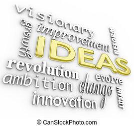 単語, 背景, -, 考え, 言葉, 革新, ビジョン, 3d