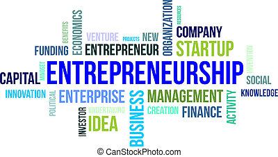 単語, -, 雲, 企業家精神