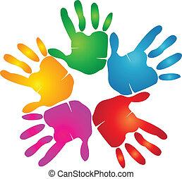 印刷, ロゴ, 色, 鮮やか, 手