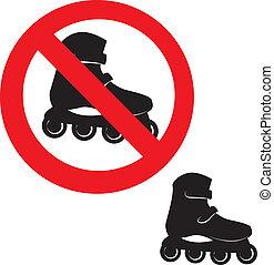印。, スケート, 禁止された, icon., ローラー