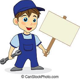 印, 機械工, 木, かわいい, 男の子