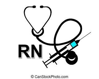 印, 登録された, rn, 白, 看護婦