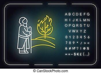 印, 白熱, 物語, ネオン, icon., flame., イラスト, 宗教, legend., 燃焼, アルファベット, 予言者, ライト, narrative., symbols., ブッシュ, 聖書, 木, ベクトル, 隔離された, moses, 数, 聖書