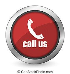 印, 私達, 電話アイコン, 呼出し, 赤